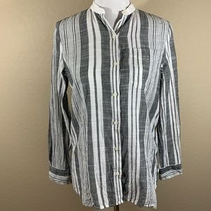 Chaps Striped Button Down Blouse